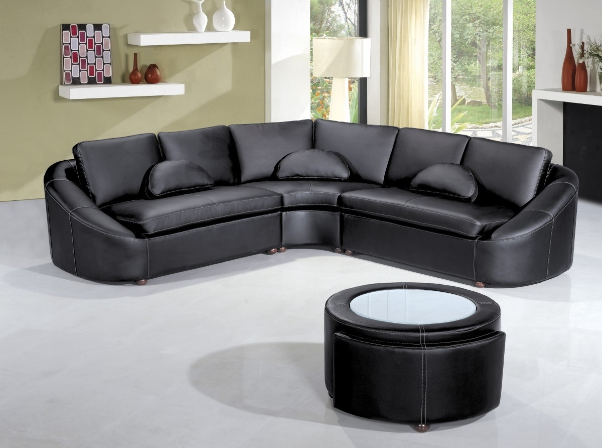 Modern Black Leather Sectional Sofa Pertaining To 2017 Leather Sectional Sofas (View 5 of 15)