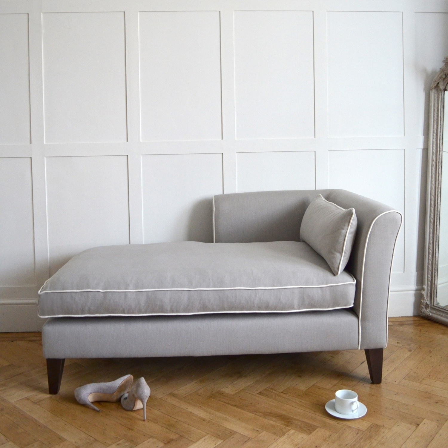 Modern Chaise Longues Pertaining To Latest Heathcote Chaise Longue – Smooth Modern Shape – Choose Fabric (View 7 of 15)