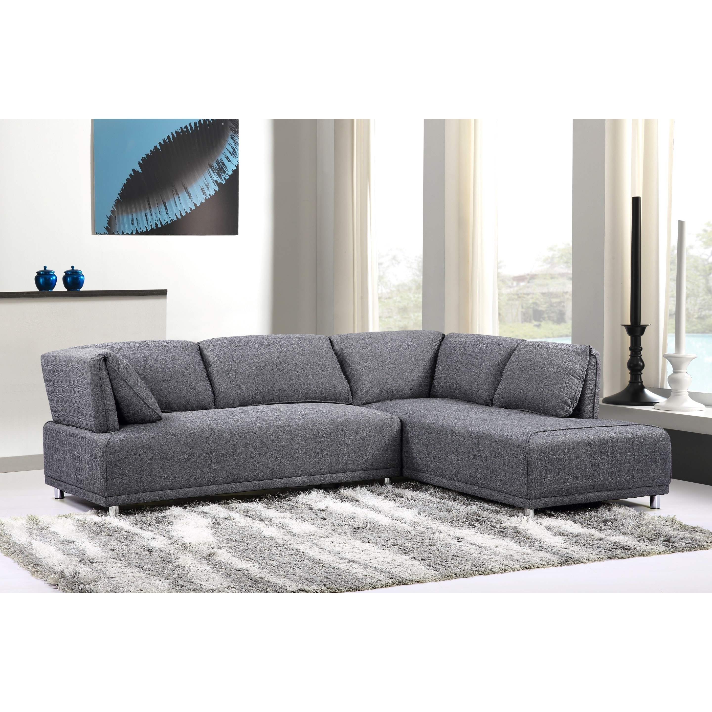 Modern Chaise Sofas Within Latest Modern Elvis Left Side Chaise Sectional Sofa With Metal Legs (View 9 of 15)