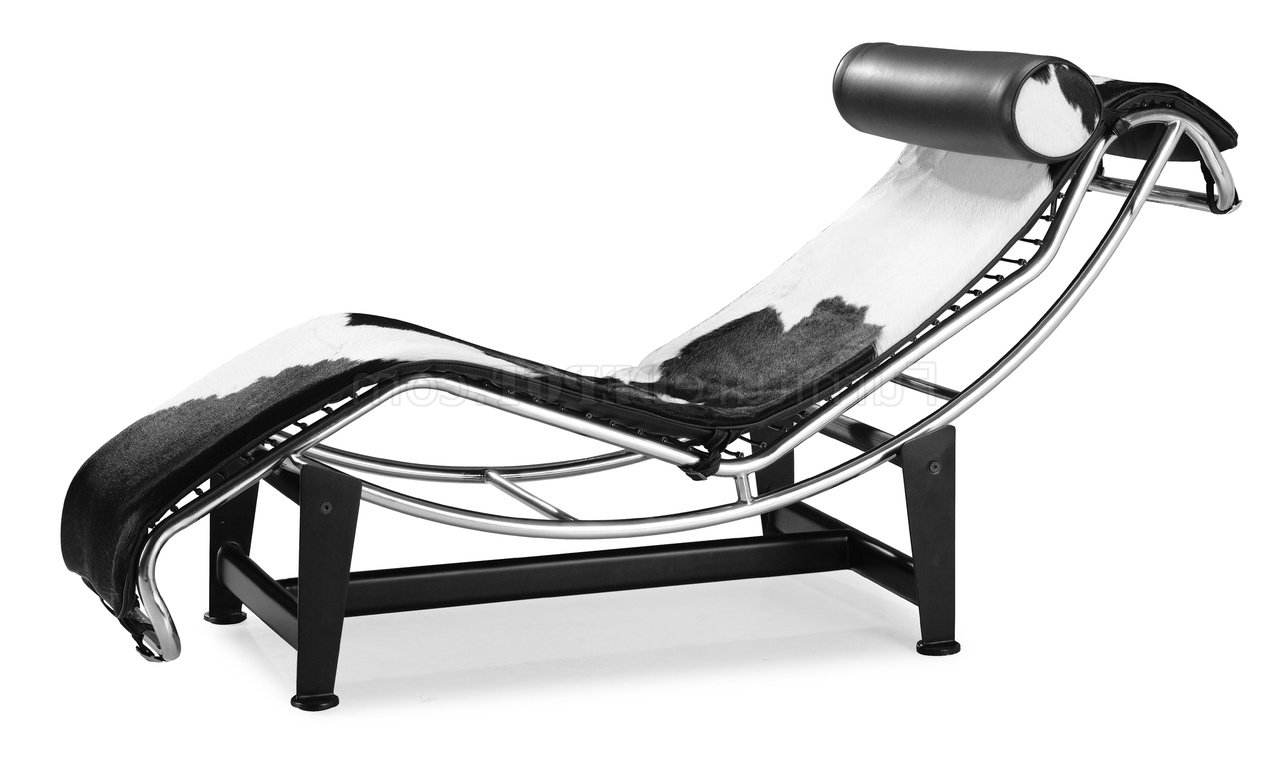 Modern Chaises Within Newest Black & White Pony Leather Modern Chaise Lounger (View 9 of 15)