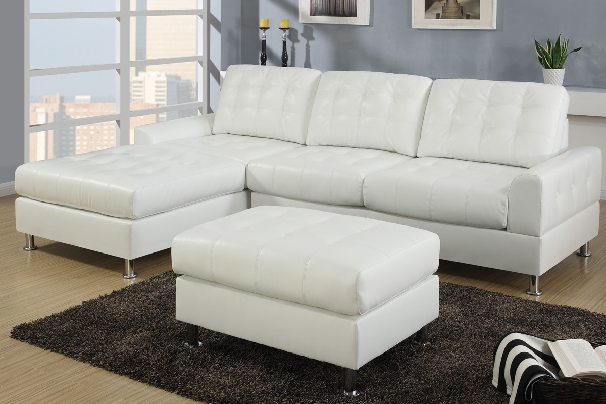 Modern Classic Cream White Bonded Leather Sectional Sofa With Throughout Fashionable Reversible Chaise Sofas (View 15 of 15)