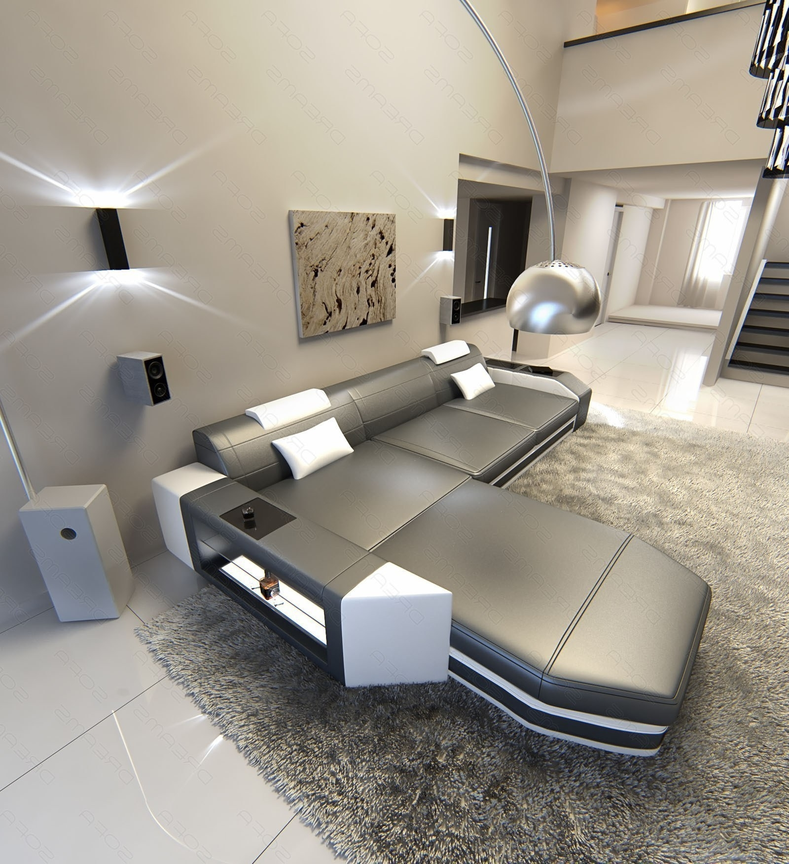 Modern L Shaped Sofa Dallas With Led Lights Leather Sofa Grey Within Favorite L Shaped Sofas (View 8 of 15)