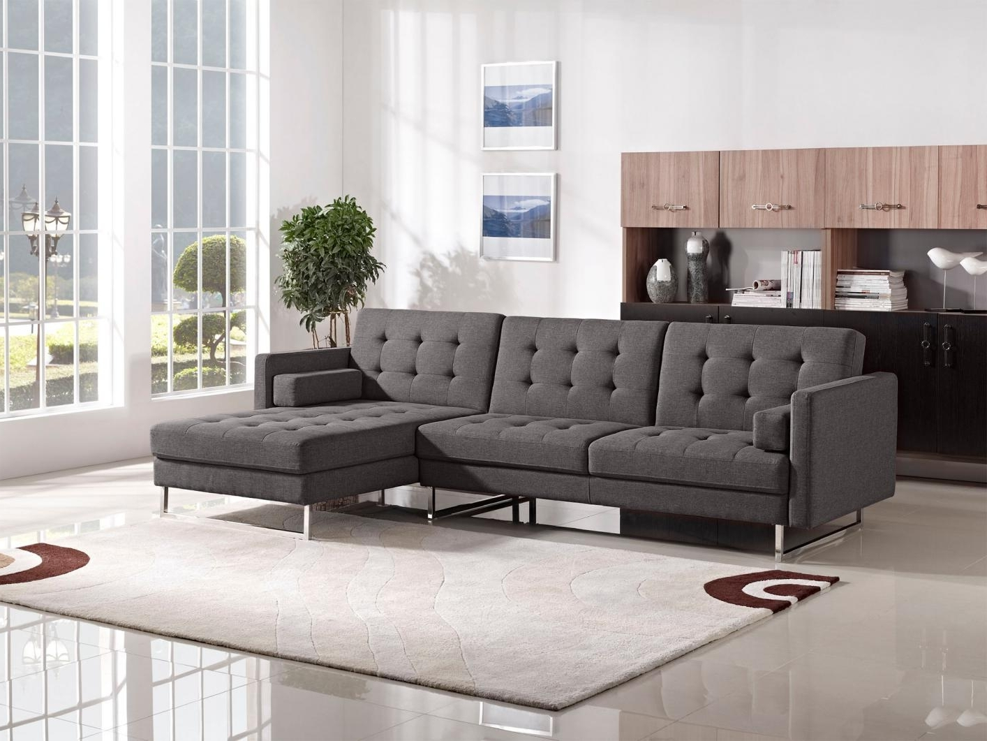 Modern L Shaped White Leather Sectional Sofa Bed Chrome Metal Base Regarding 2017 The Bay Sectional Sofas (View 6 of 15)