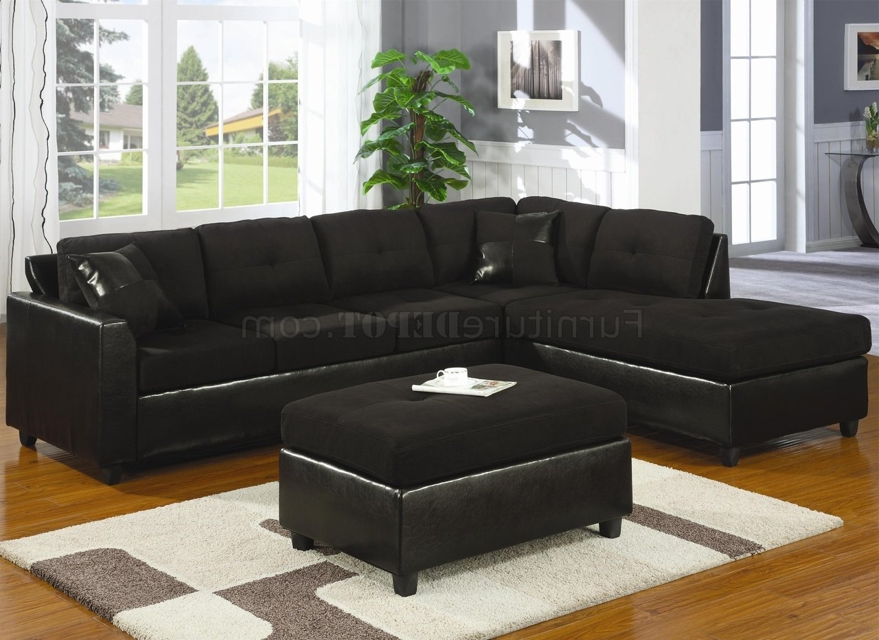 Modern Microfiber Sectional Sofas Intended For Most Recent Microfiber & Faux Leather Contemporary Sectional Sofa 500735 Black (View 7 of 15)