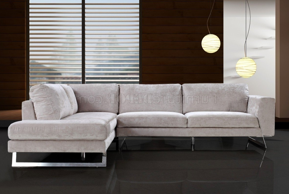 Modern Microfiber Sectional Sofas Throughout Well Known Beige Microfiber Modern Sectional Sofa W/chrome Metal Legs (View 9 of 15)