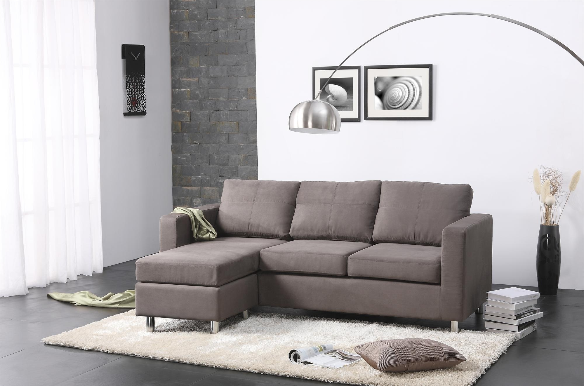 Modern Minimalist Living Room Design With Gray Microfiber Throughout Most Recently Released Tiny Sofas (View 15 of 15)