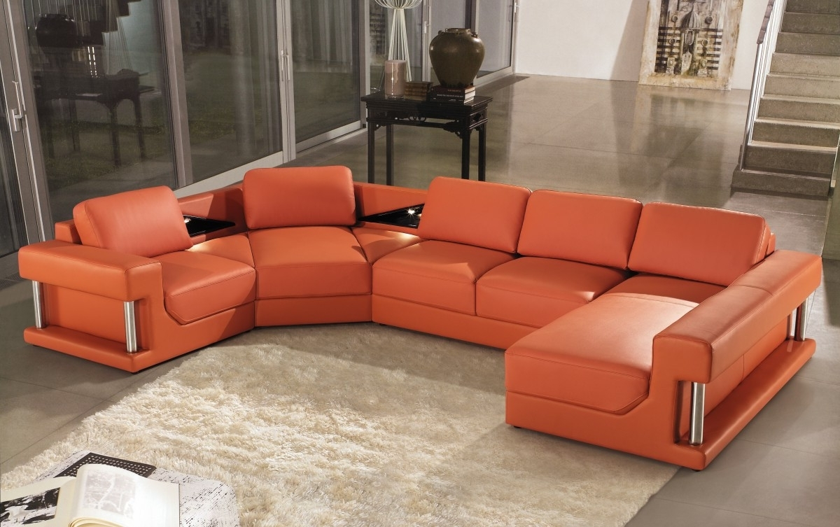 Modern Orange Leather Sectional Sofa Pertaining To Trendy Orange Sectional Sofas (View 9 of 15)