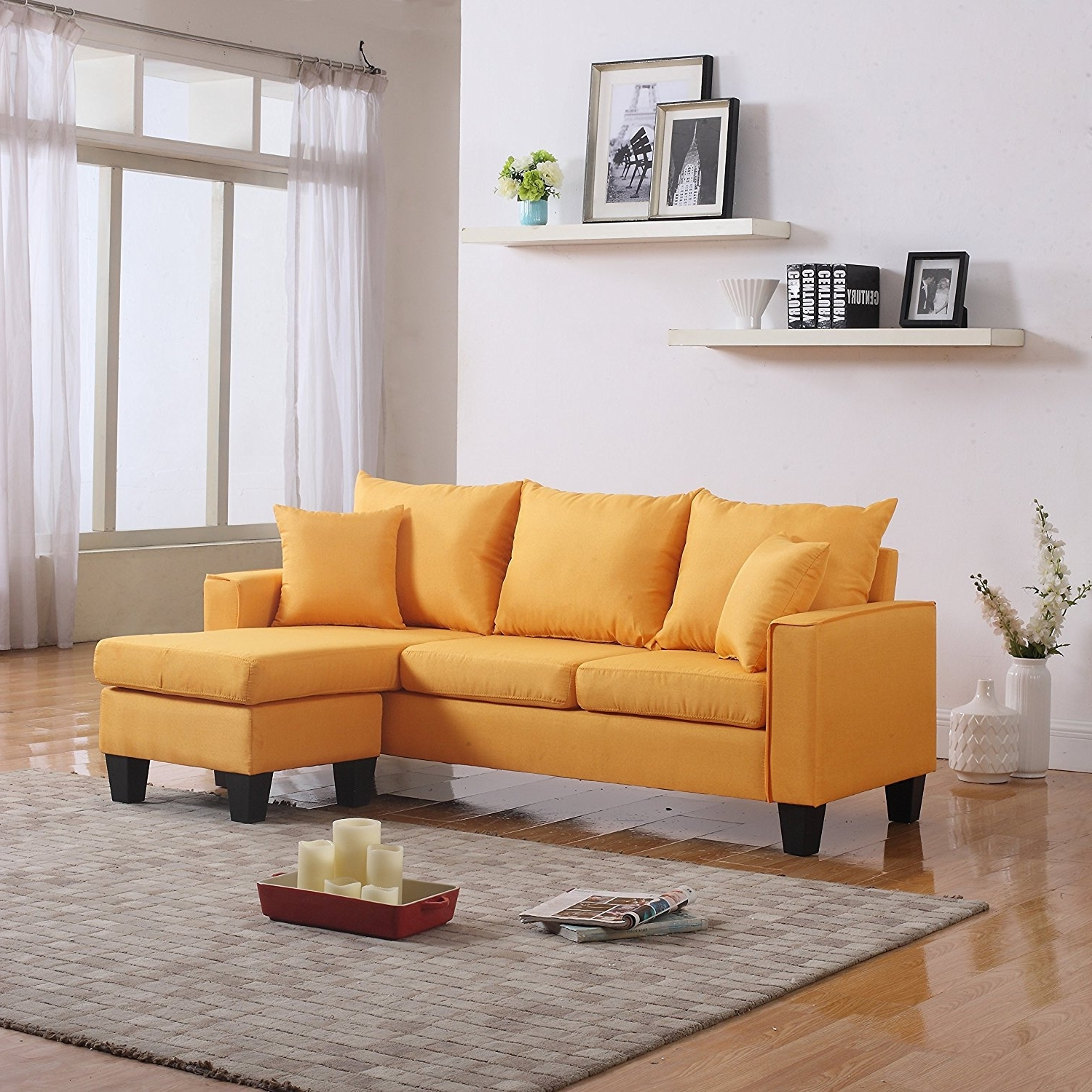 Modern Sectional Sofas For Small Spaces Pertaining To Favorite Amazon: Modern Linen Fabric Small Space Sectional Sofa With (View 9 of 15)
