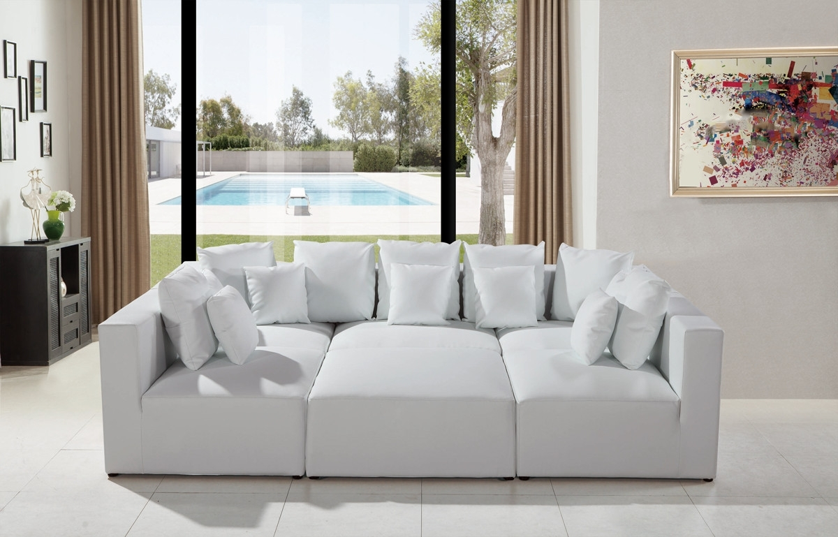 Modern White Leather Sectional Sofa With Most Current Sectional Sofas That Can Be Rearranged (View 7 of 15)