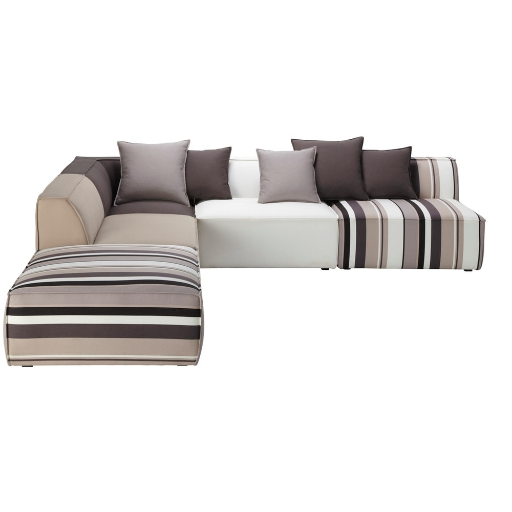 Modular Corner Sofas Intended For Well Known 5 Seater Cotton Modular Corner Sofa, Striped (View 12 of 15)