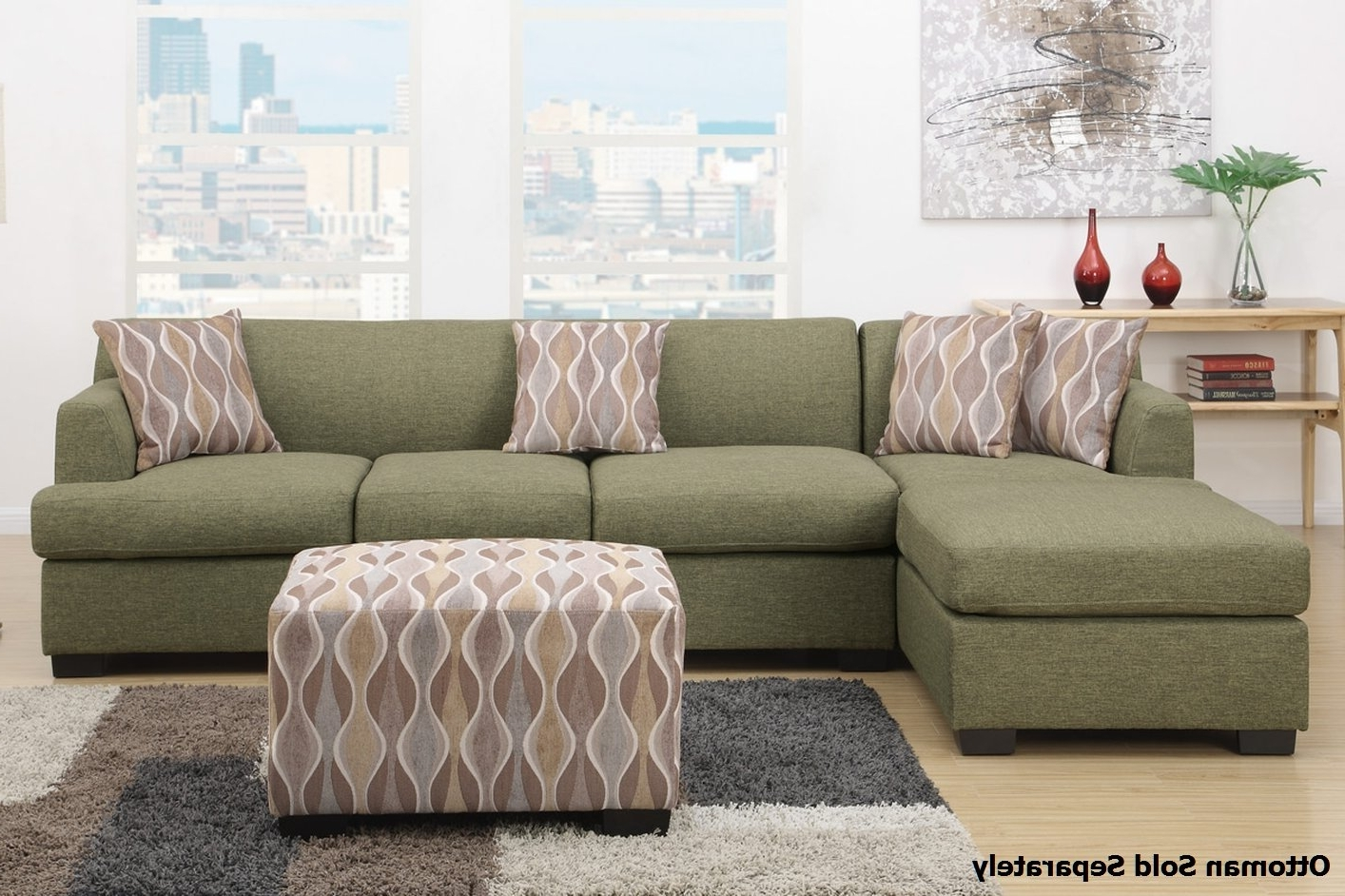 Montreal Sectional Sofas With Regard To Latest Montreal Iii Green Fabric Sectional Sofa – Steal A Sofa Furniture (View 8 of 15)