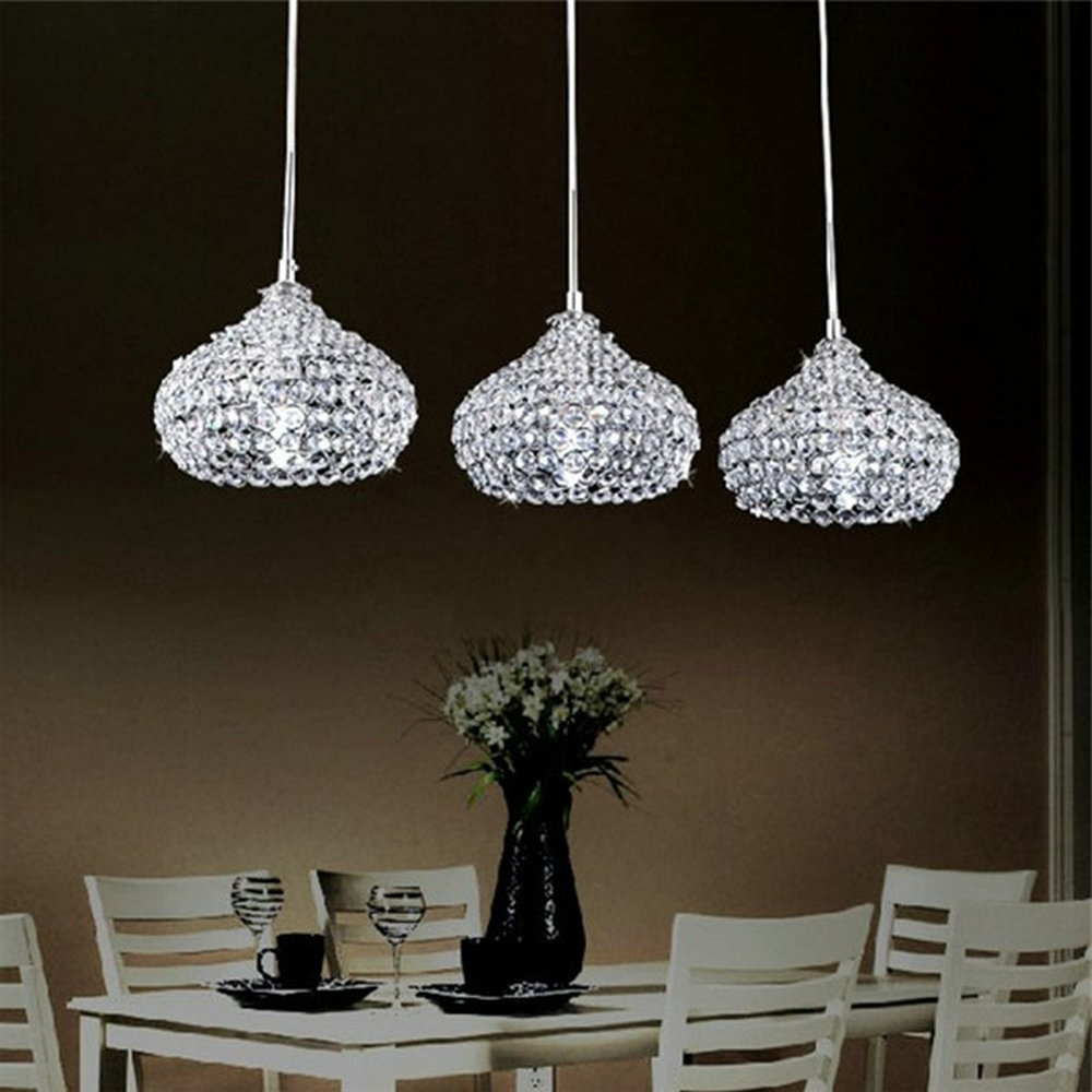 Most Current 3 Light Crystal Chandeliers Inside Dinggu™Chrome Finish Modern 3 Lights Crystal Chandelier Pendant (View 5 of 15)