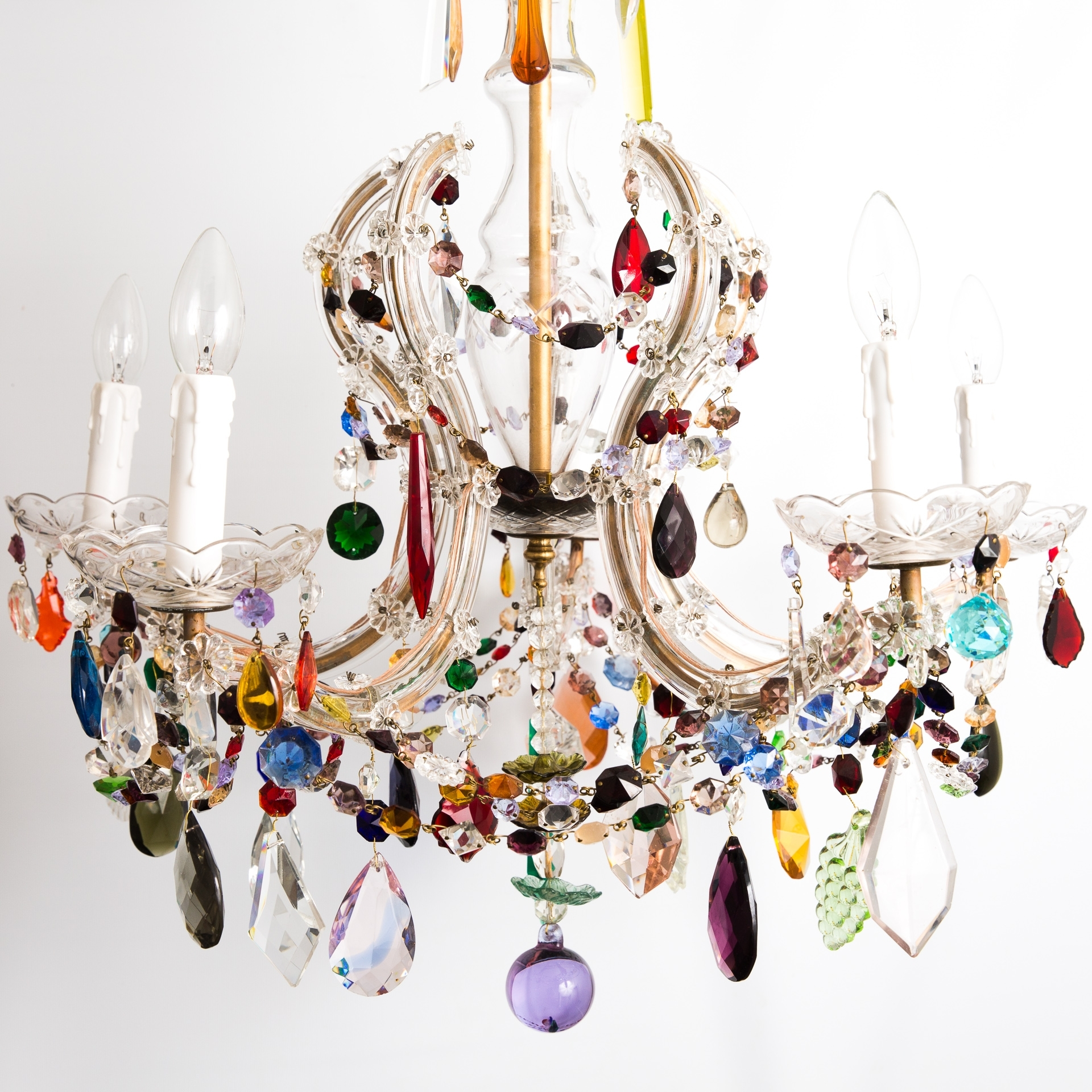 Most Current 6 Arm Crown Shaped Marie Therese With Multi Coloured Drops – The With Coloured Glass Chandelier (View 8 of 15)