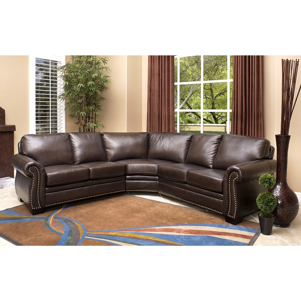 Most Current Abbyson Oxford Brown Top Grain Leather Sectional Sofa – Free Pertaining To Leather Sectional Sofas (View 9 of 15)