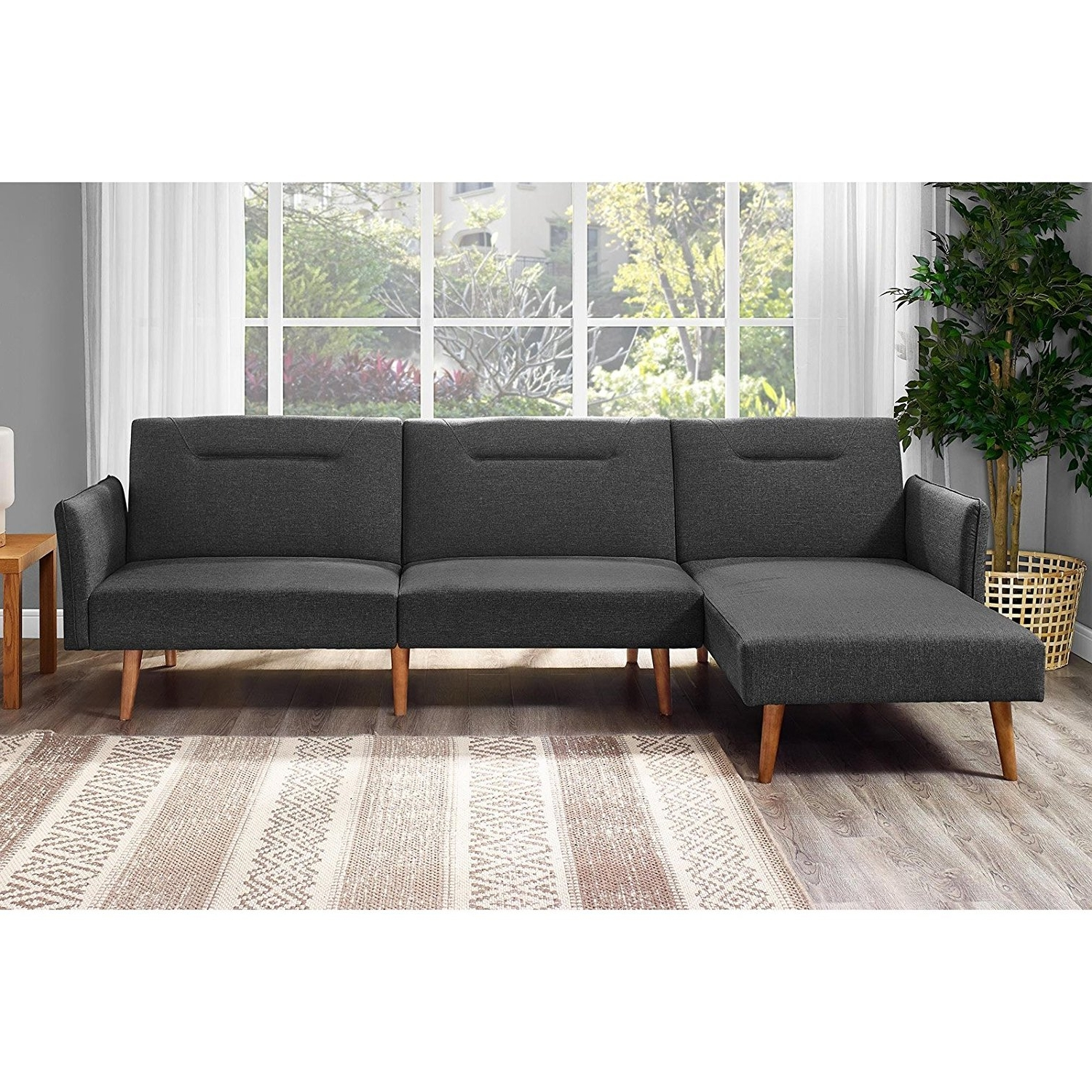 Most Current Amazon: Dhp Brent Futon Chaise: Kitchen & Dining Inside Futons With Chaise (View 8 of 15)