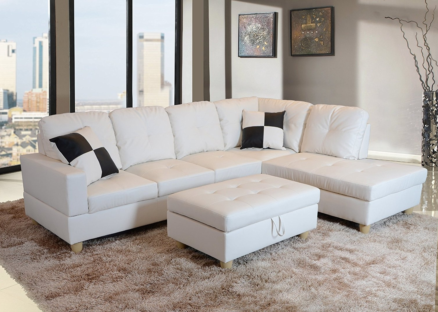 Most Current Amazon: Lifestyle Faux Leather Right Facing Sectional Sofa Set Regarding Leather Sectional Sofas With Ottoman (View 10 of 15)