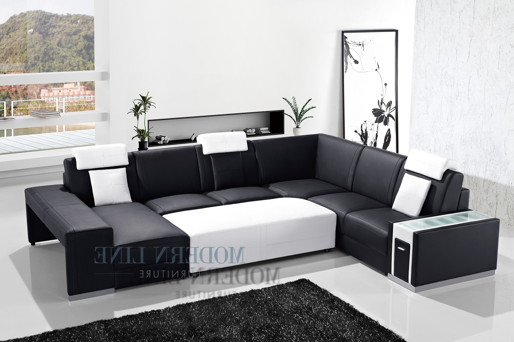Most Current Black Leather Sectionals With Ottoman Pertaining To Awesome Black Leather Sectional With Ottoman Ideas – Liltigertoo (View 4 of 15)