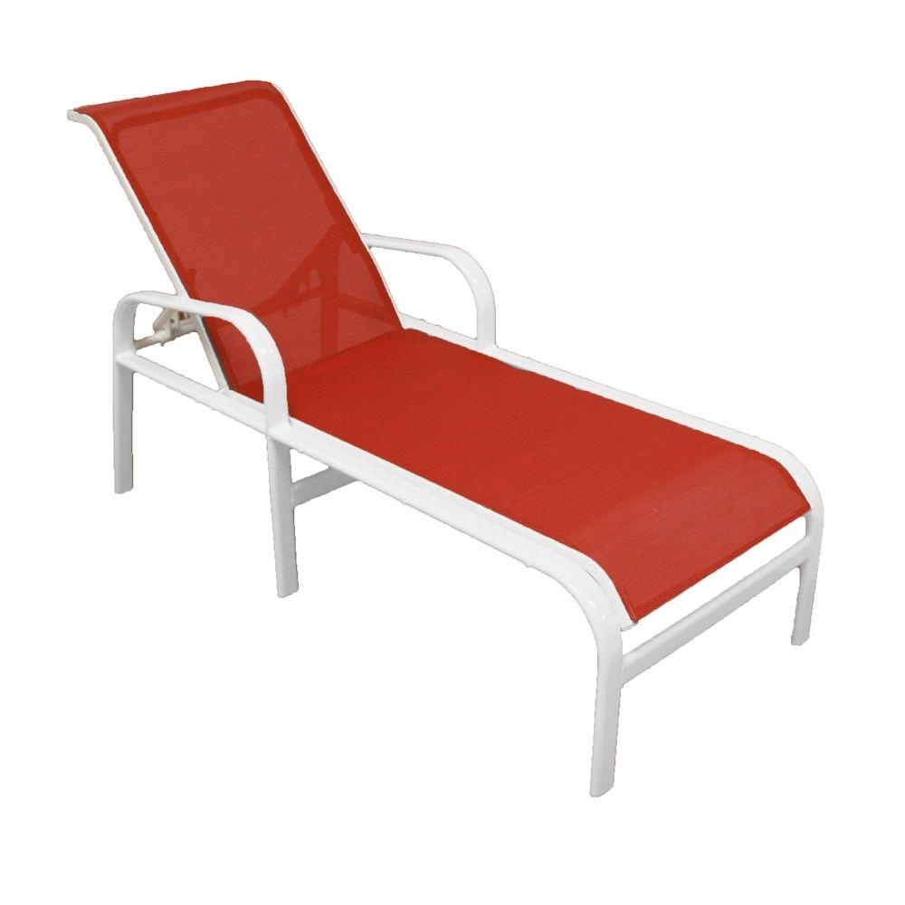 Most Current Chaise Lounge Sling Chairs Regarding Marco Island White Commercial Grade Aluminum Patio Chaise Lounge (View 6 of 15)