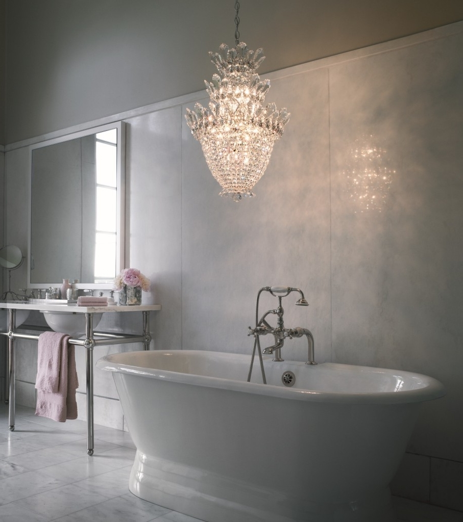 Most Current Crystal Chandelier Bathroom Lighting Intended For Chandelier: Astonishing Mini Chandeliers For Bathroom Mini (View 7 of 15)