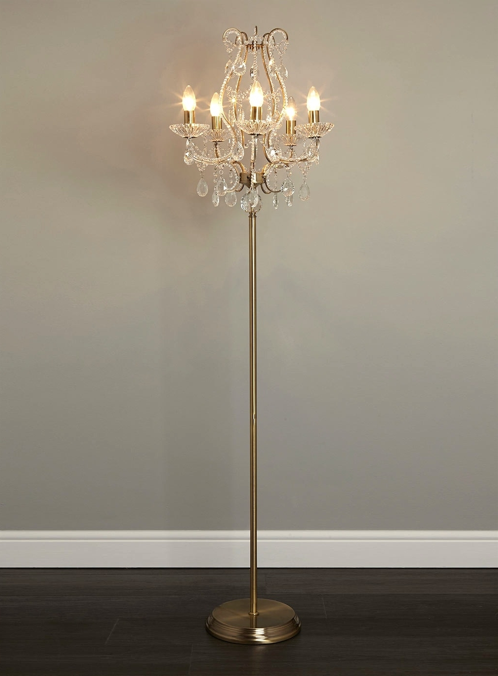 Most Current Crystal Chandelier Standing Lamps Inside Light : Chandelier Floor Lamp Closeout With Thesecretconsul And (View 4 of 15)