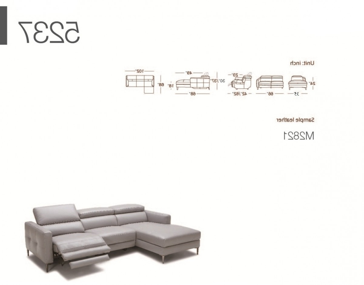 Most Current Divani Casa Booth Modern Light Grey Leather Sectional Sofa W In Sectional Sofas With Electric Recliners (View 10 of 15)