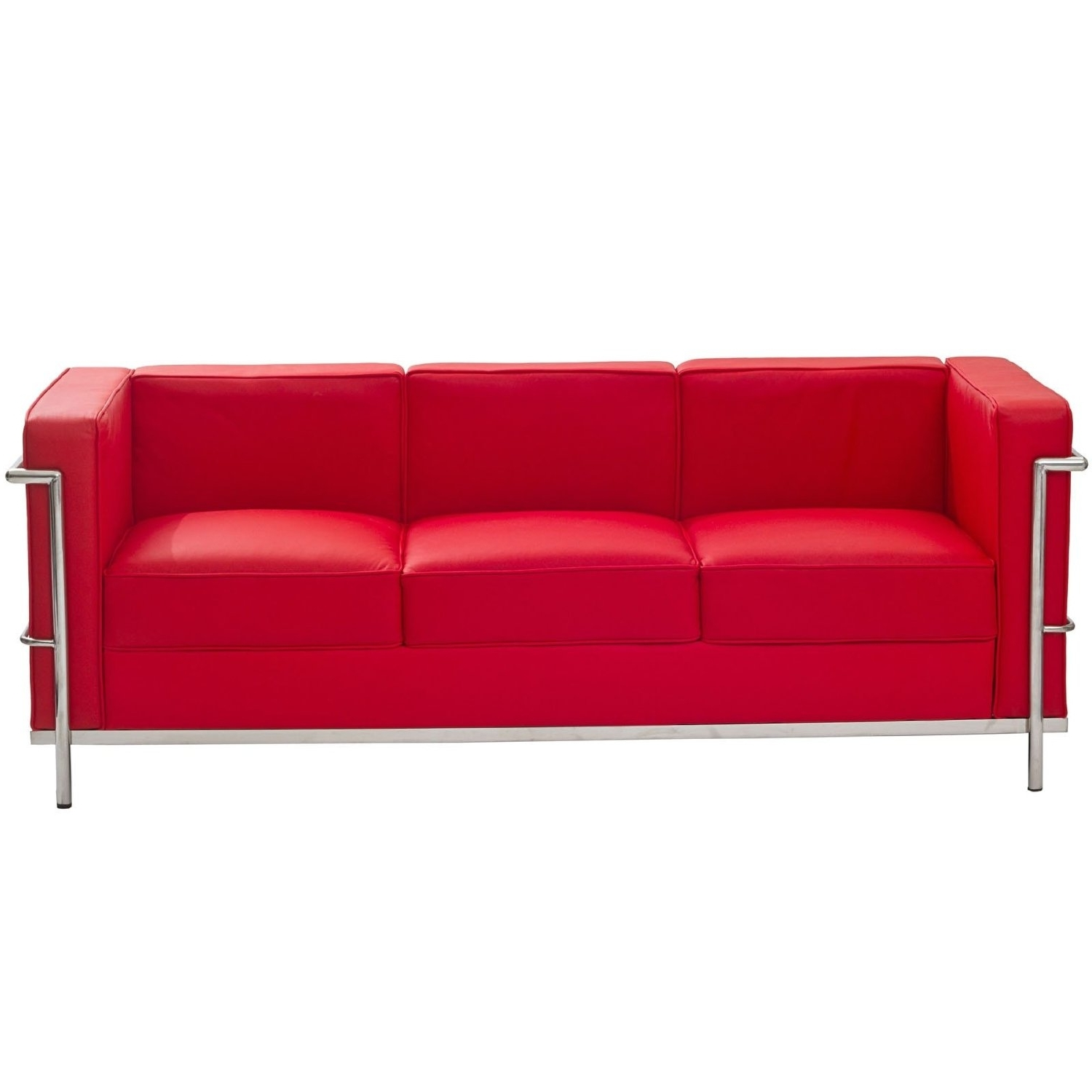 Most Current Furniture: Cool Red Leather Couches Chrome Base Finish For Modern Intended For Red Leather Couches (View 6 of 15)