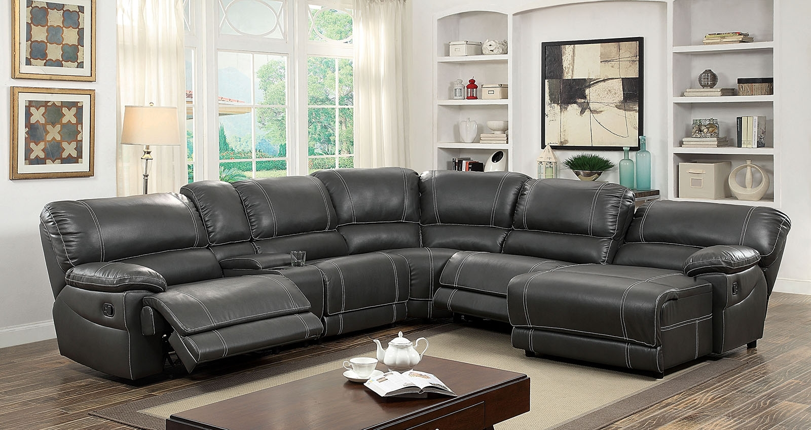Most Current Furniture Of America 6131Gy Gray Reclining Chaise Console Within Sectional Sofas With Consoles (View 12 of 15)