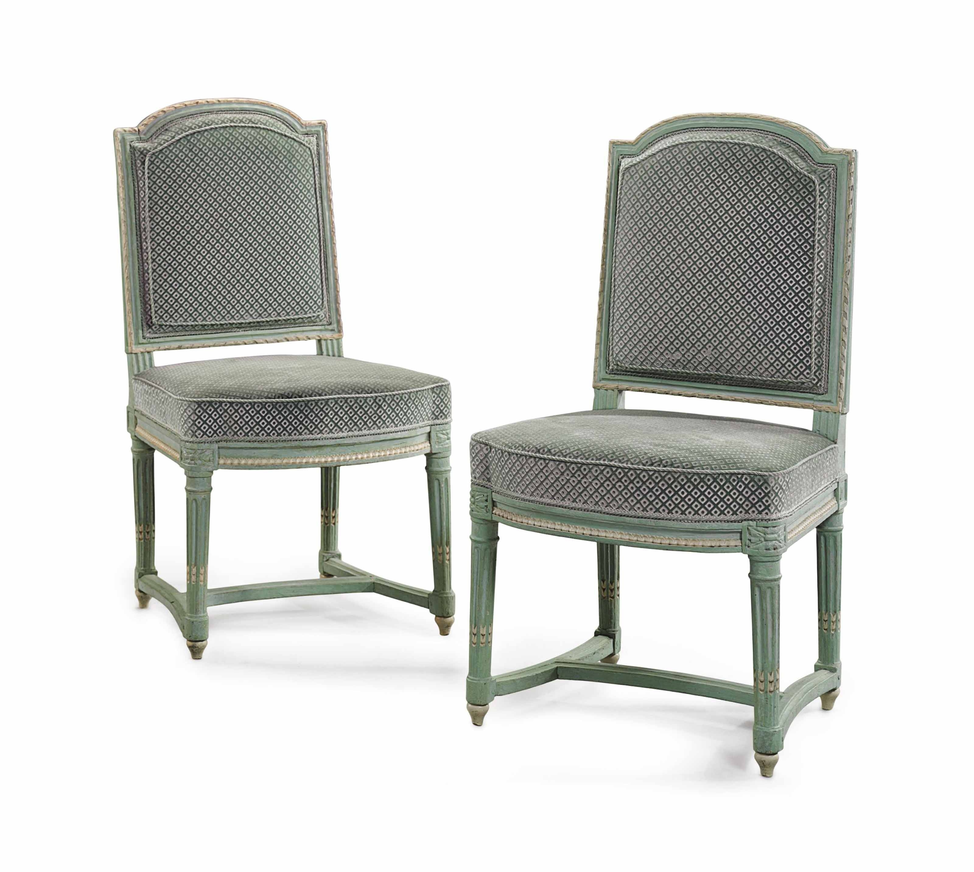 Most Current Green Chaises Intended For A Pair Of Royal Louis Xvi Green And White Painted Chaisesjean (View 10 of 15)