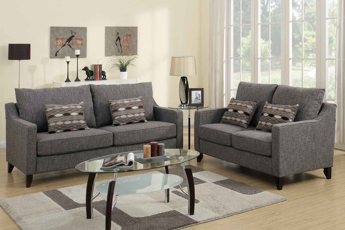 Most Current Grey Sofa Chairs Pertaining To Avery Grey Fabric Sofa And Loveseat Set – Steal A Sofa Furniture (View 10 of 15)