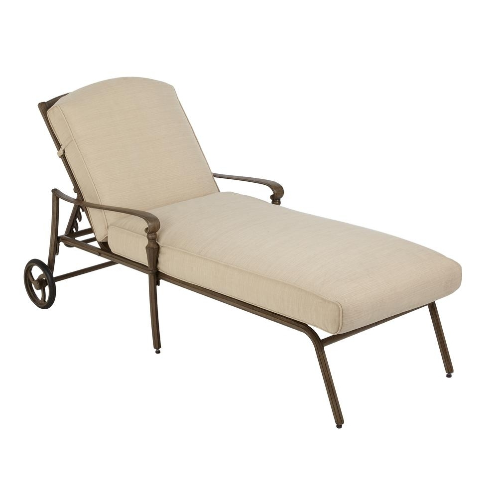 Most Current Hampton Bay Cavasso Metal Outdoor Chaise Lounge With Oatmeal Inside Wooden Chaise Lounges (View 6 of 15)