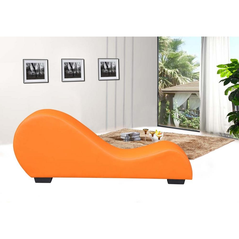 Most Current Home Depot Chaise Lounges Pertaining To Orange Faux Leather Chaise Lounge Cl 08 – The Home Depot (View 13 of 15)