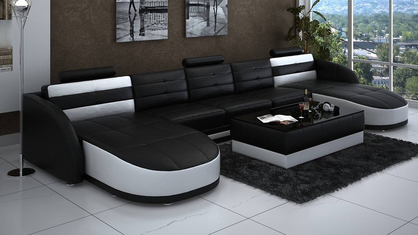 Most Current Leather Double Chaise Sectional In Black And White Plus Rectangle Regarding Chaise Sectionals (View 8 of 15)
