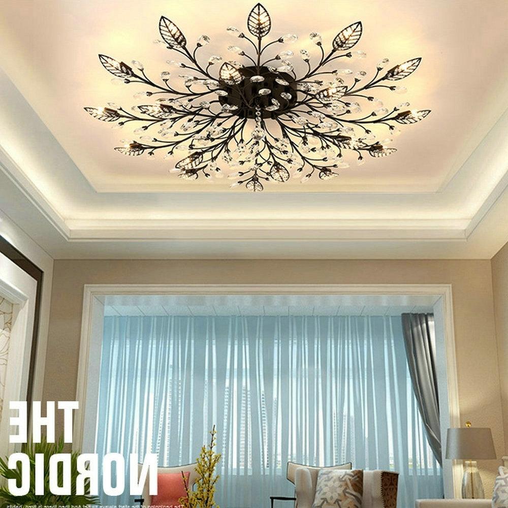 Most Current Modern K9 Crystal Led Flush Mount Ceiling Chandelier Lights Fixture In Chandelier Lights For Living Room (View 10 of 15)