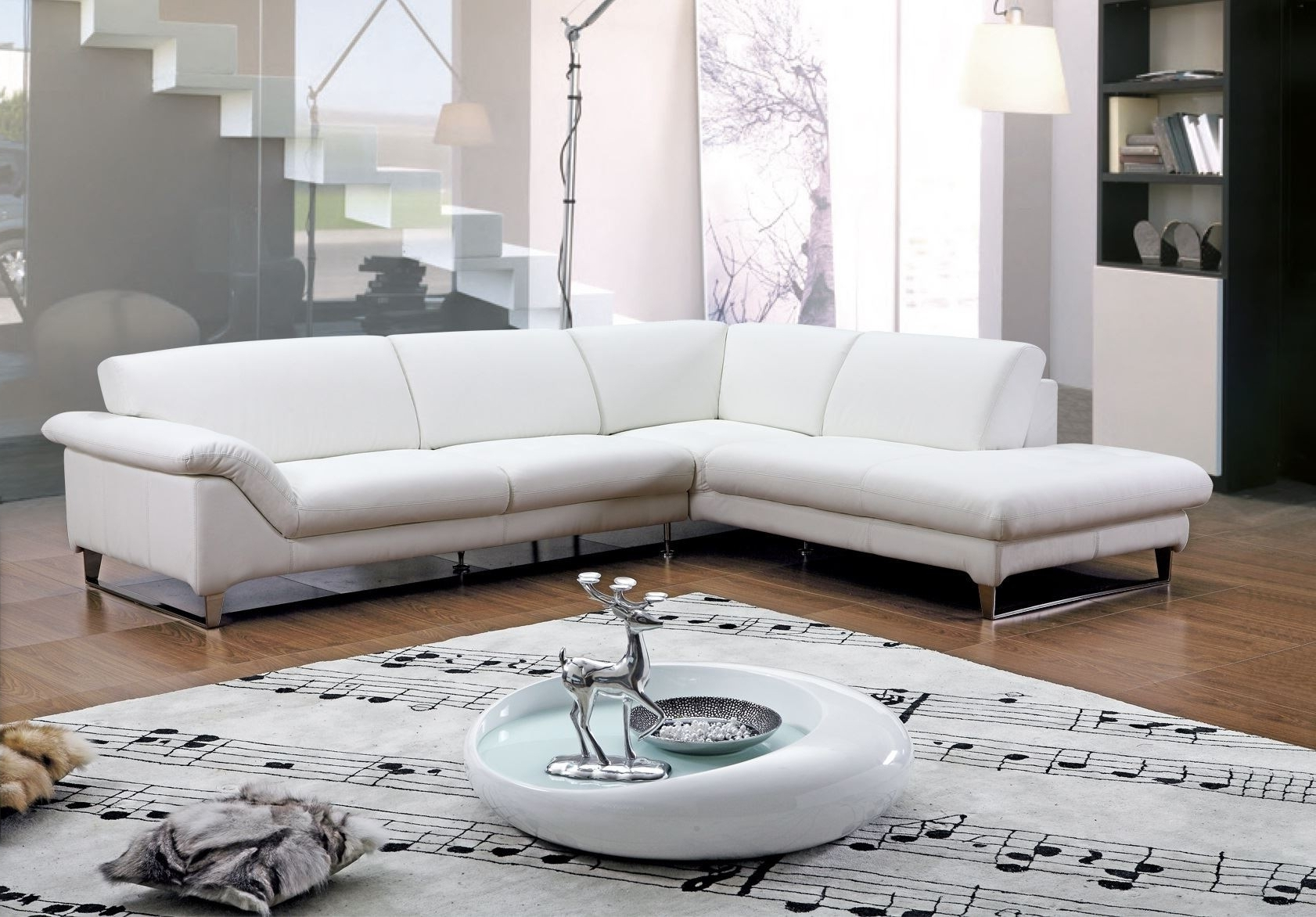 Most Current Modern Minimalist Living Room Decoration With American White With Regard To Leather Sectional Sleeper Sofas With Chaise (View 10 of 15)