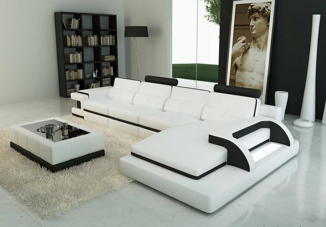 Most Current Modern White Leather Sectional Sofa Vg122C (View 4 of 15)
