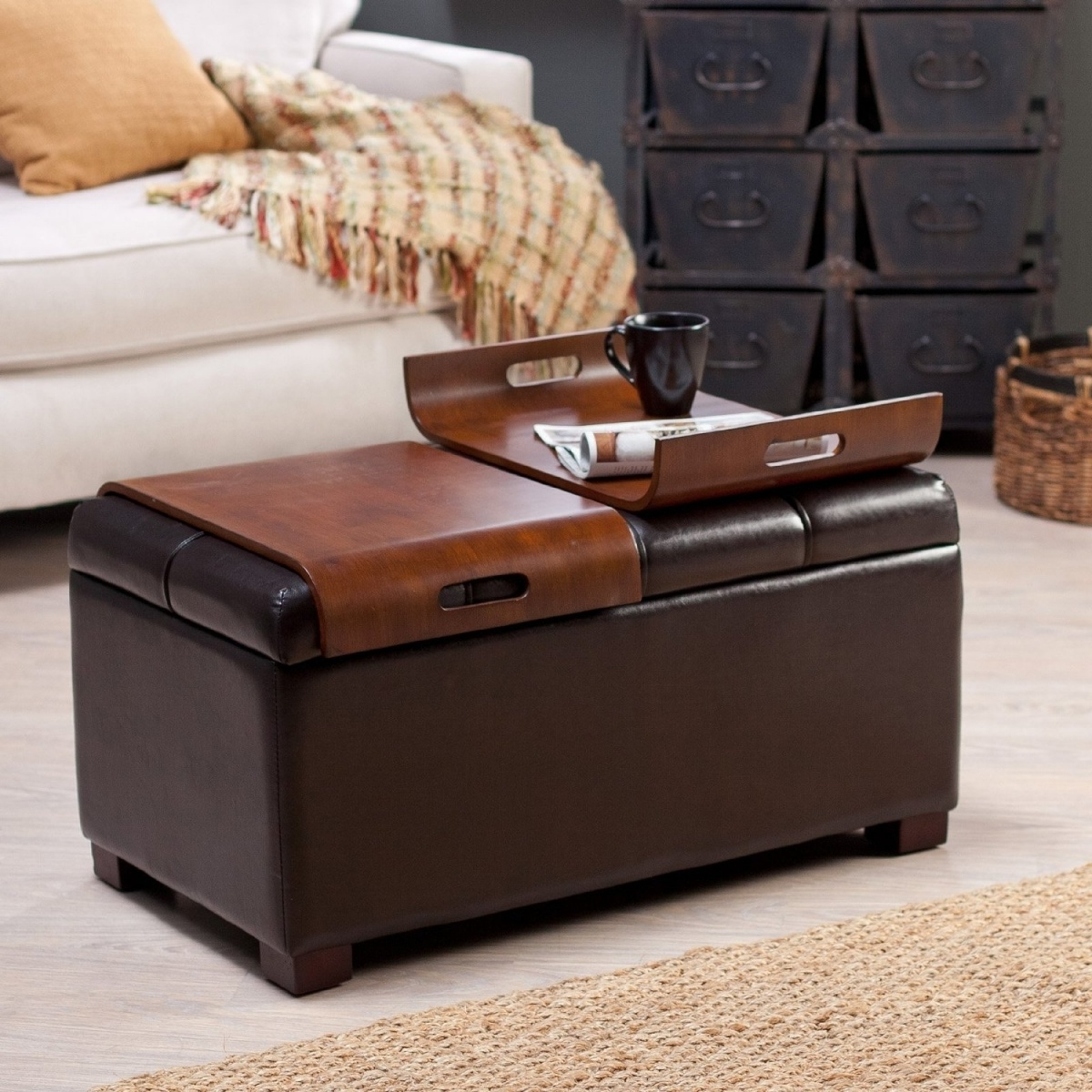 Most Current Ottomans With Tray With Regard To Ottoman Coffee Table Tray Leather — Dans Design Magz : Ottoman (View 5 of 15)