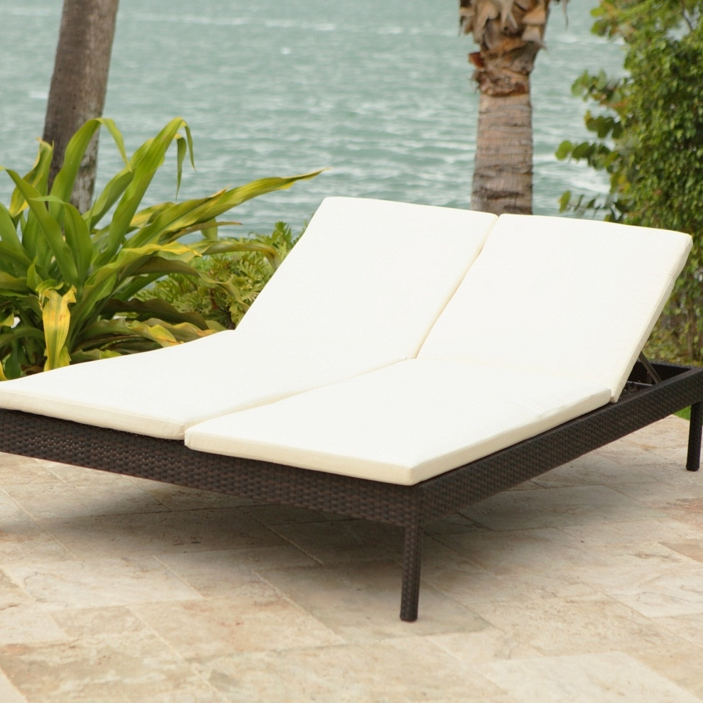 Most Current Outdoor Double Chaises Inside Uncategorized : Outdoor Double Chaise Lounge With Stylish Rattan (View 7 of 15)