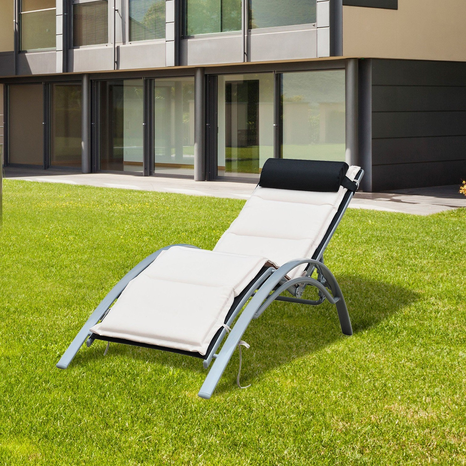 Most Current Outsunny Patio Reclining Chaise Lounge Chair With Cushion – Black For Reclining Chaise Lounges (View 5 of 15)