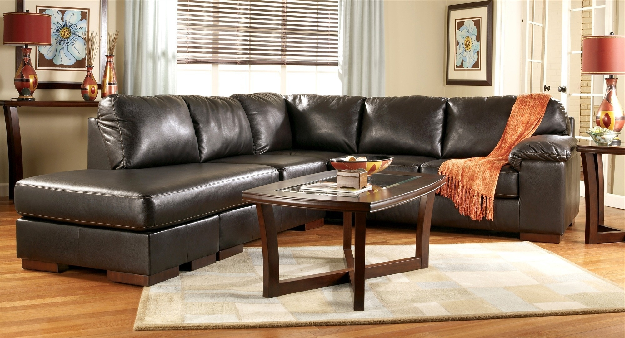 Most Current Red Faux Leather Sectionals Pertaining To Faux Leather Sectional Sofa Ashley Simmons Bonded Leather (View 4 of 15)
