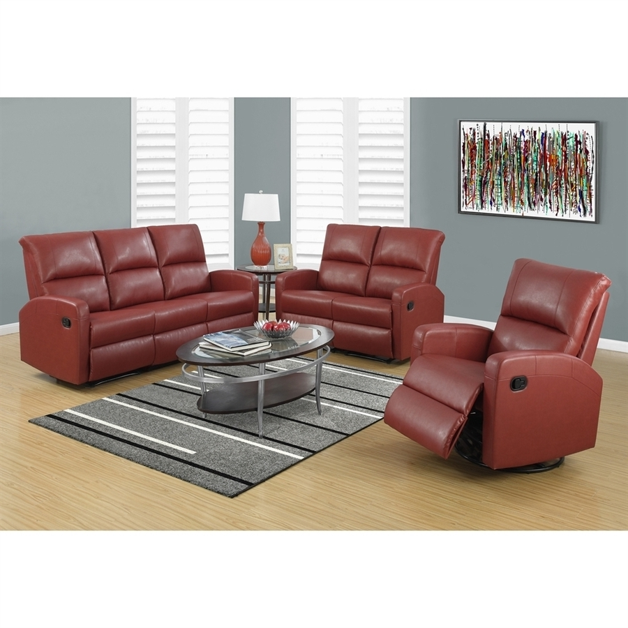 Most Current Red Faux Leather Sectionals With Shop Monarch Specialties Casual Red Faux Leather Sectional At (View 5 of 15)