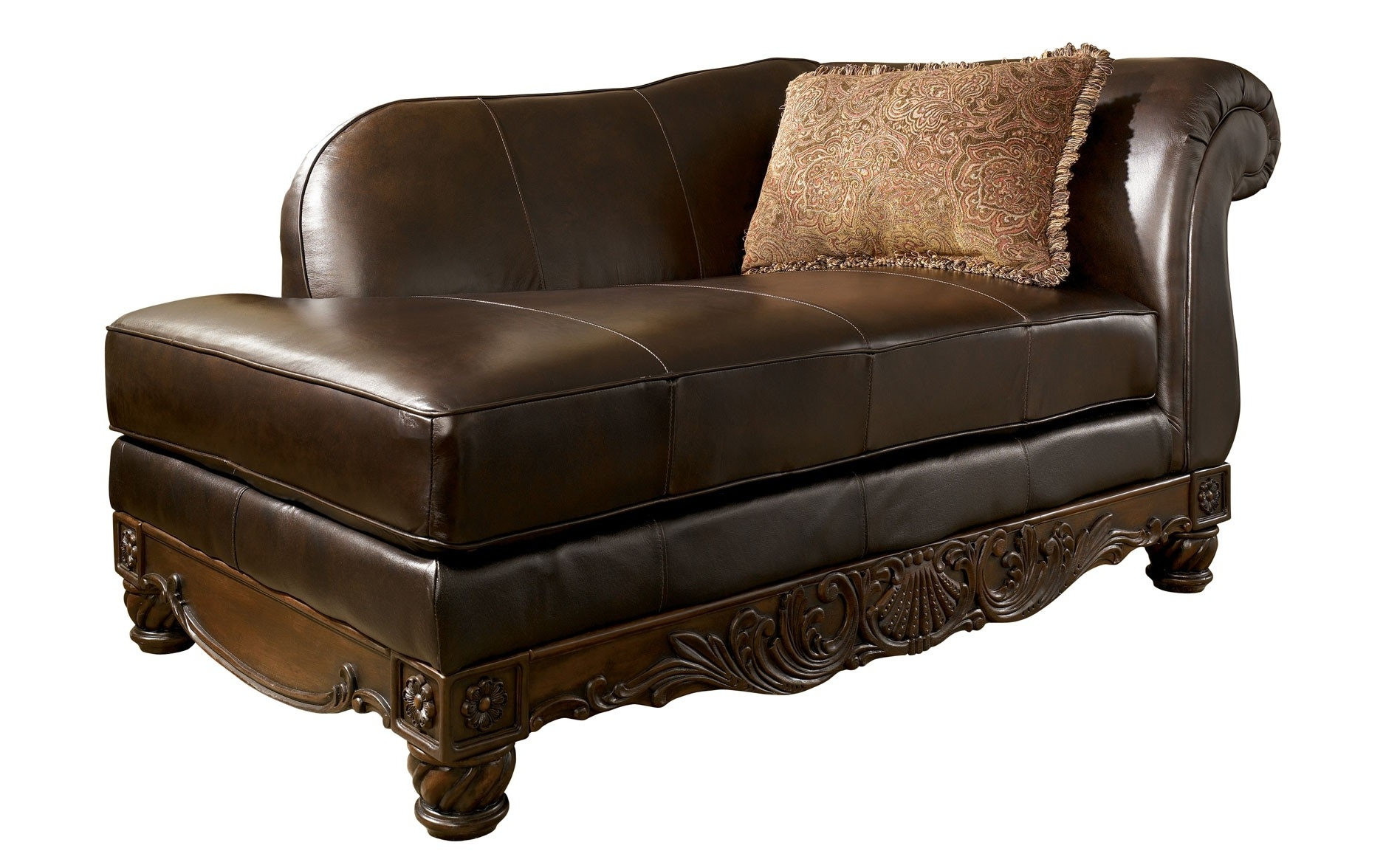 Most Current Rustic Chocolate Leather Chaise Lounge Chair With Single Arm And Regarding Brown Leather Chaises (View 3 of 15)