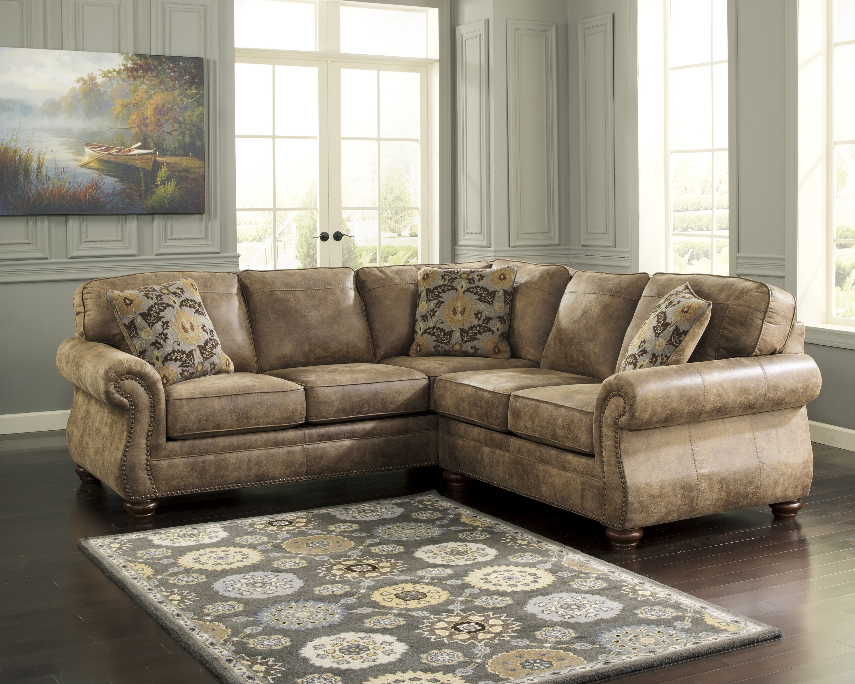 Most Current Sectional Sofas With Nailhead Trim Throughout Ashley Furniture Fabric Sectionals, Ashley Furniture Sofa Sleepers (View 5 of 15)