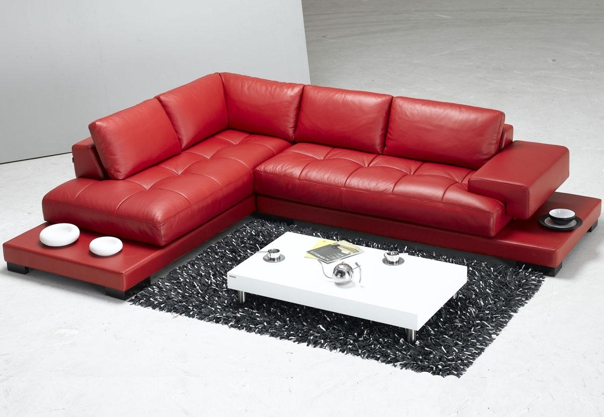 Most Current Sofa : Red Leather Sectional Black Leather Sectional Couch With With Red Faux Leather Sectionals (View 6 of 15)