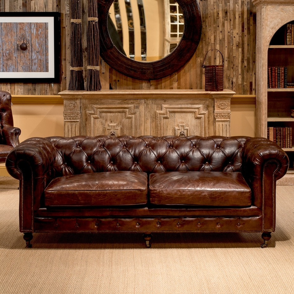 Most Current Tufted Leather Chesterfield Sofas Pertaining To Castered Chesterfield Sofa , Sarreid Ltd Portal ! (View 3 of 15)