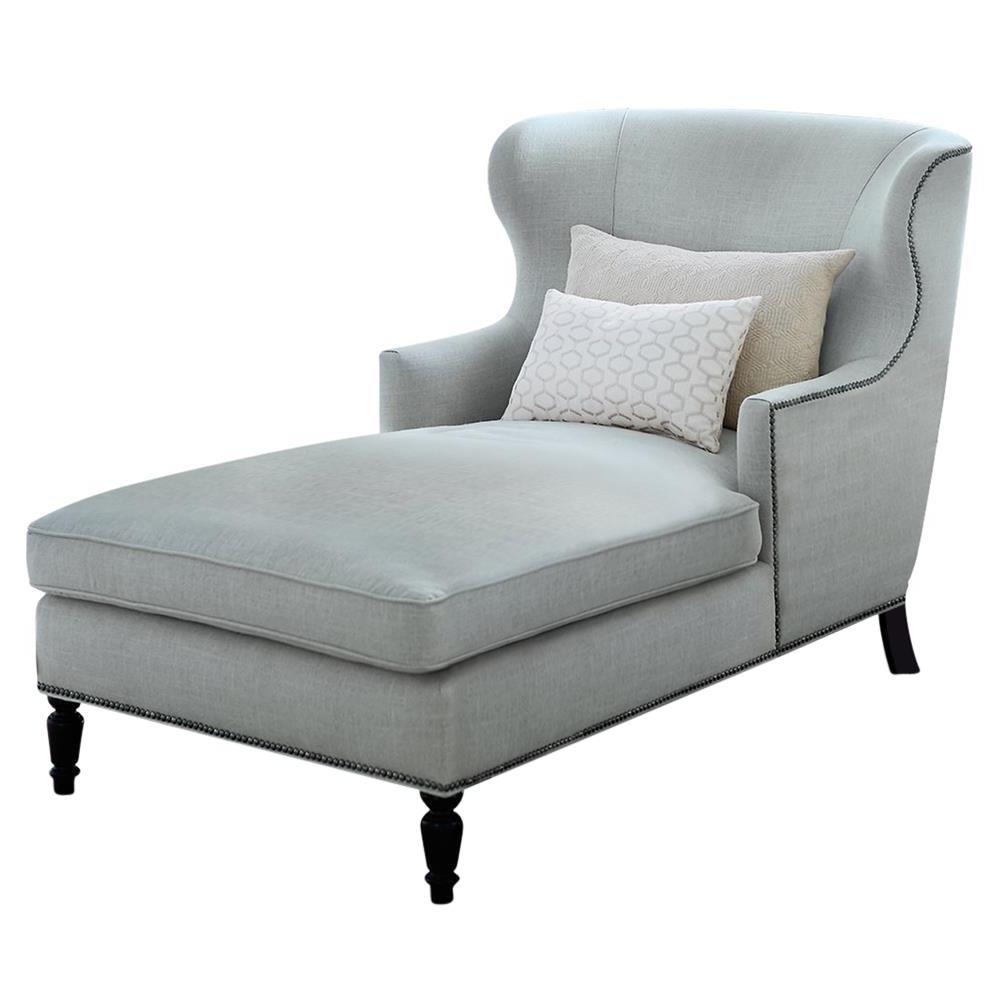 Most Current Velvet Chaises Regarding Nia Hollywood Regency Nickel Soft Sheen Blue Grey Velvet Chaise (View 6 of 15)