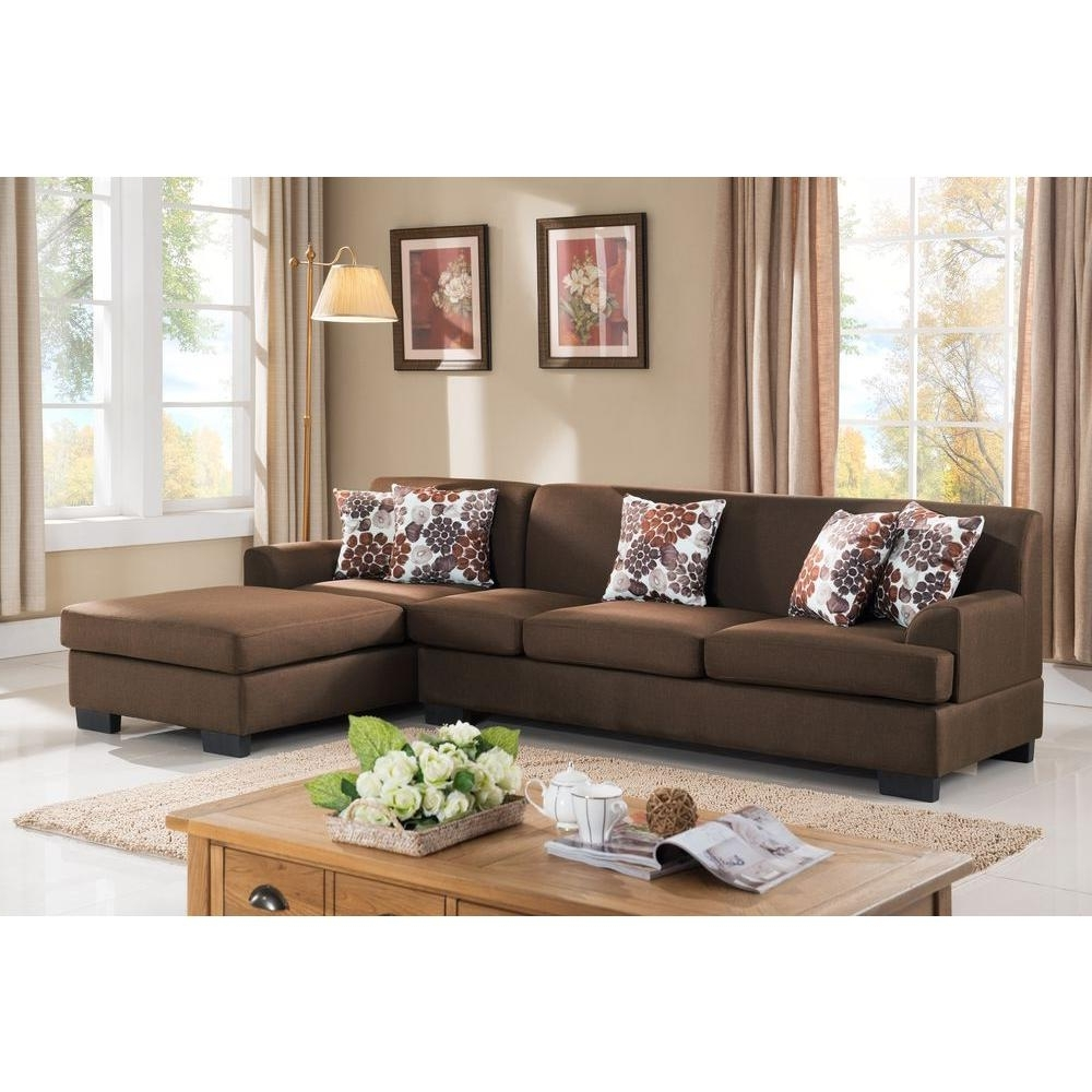 Most Popular 2 Piece Brown Linen Sectional S0072 2Pc – The Home Depot Throughout Sectionals With Reversible Chaise (View 6 of 15)