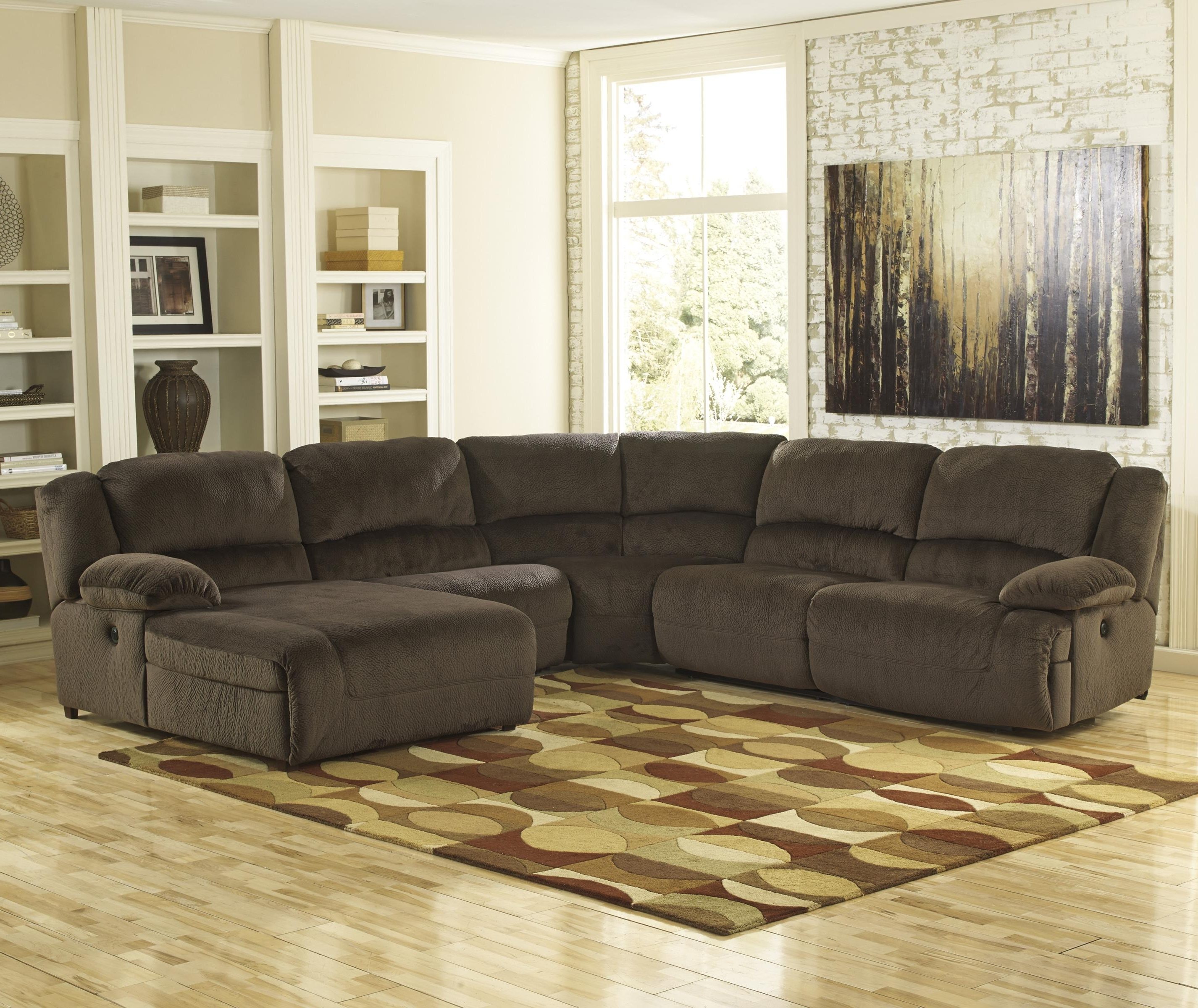 Most Popular Ashley Furniture Sectionals With Chaise Regarding Ashley Signature Design Toletta – Chocolate Reclining Sectional (View 9 of 15)