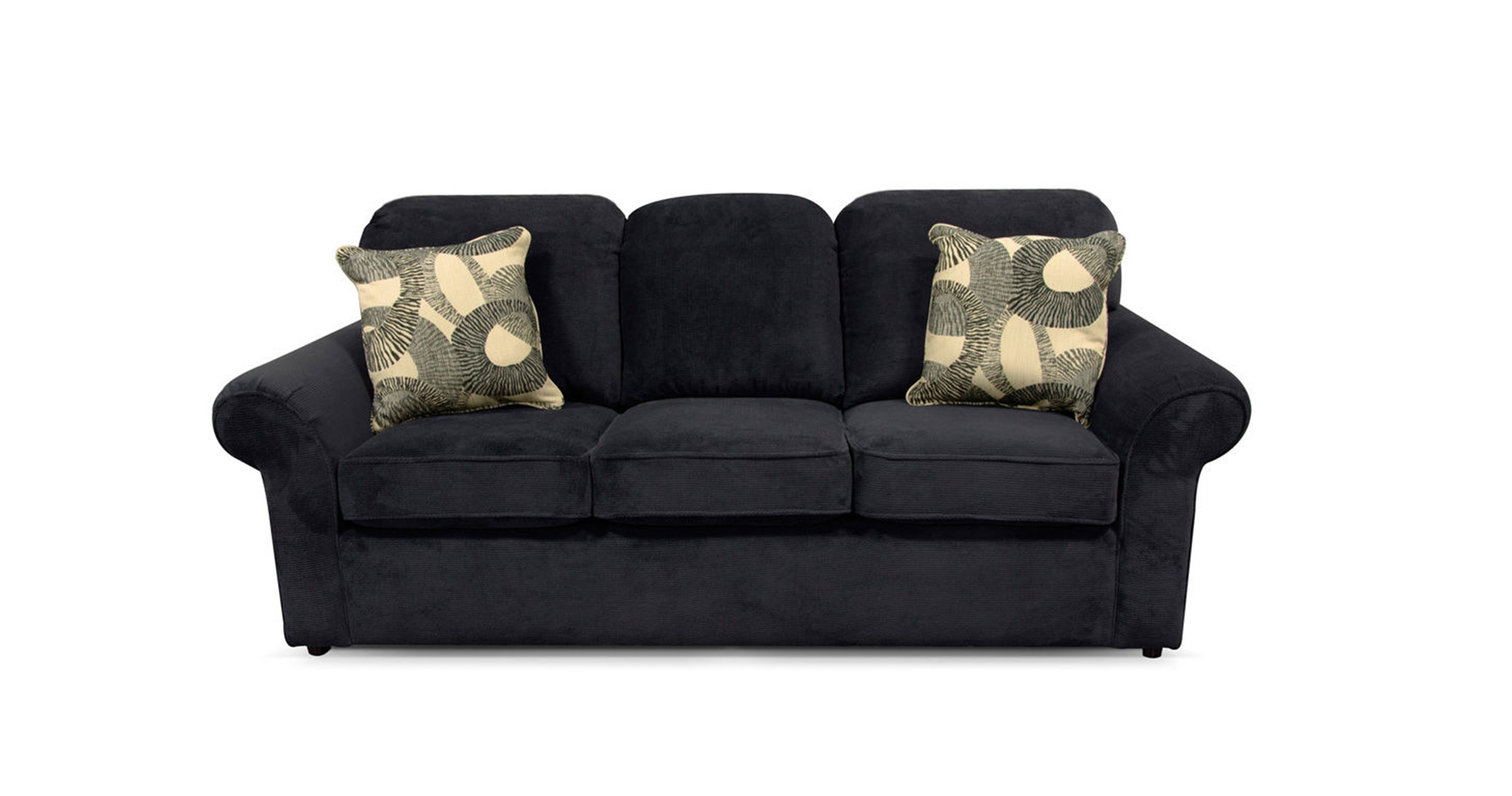 Most Popular Black Microfiber Lazy Boy Full Sleeper Sofa With 3 Cushions And Pertaining To Lazy Boy Chaises (View 7 of 15)