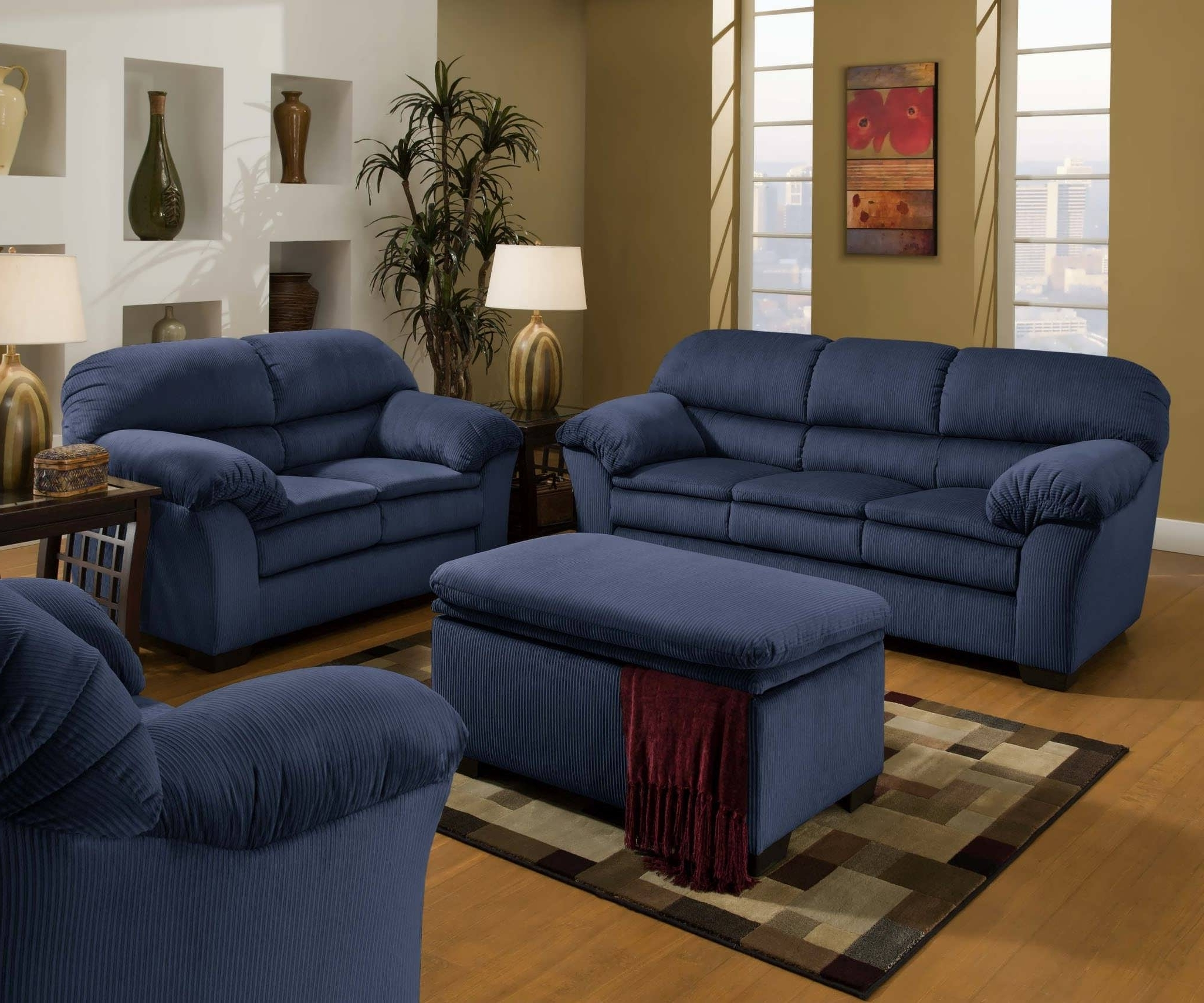 Most Popular Blue Sofa Chairs Inside Blue Sofa Set Large Office Chairs Ottomans & Storage Dressers 17Ec (View 10 of 15)