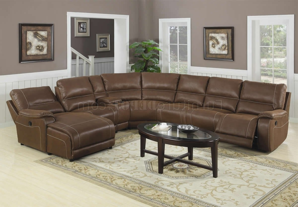 Most Popular Brown Suede Like Padded Microfiber Reclining Sectional Sofa Regarding Sectional Sofas With Recliner And Chaise Lounge (View 6 of 15)